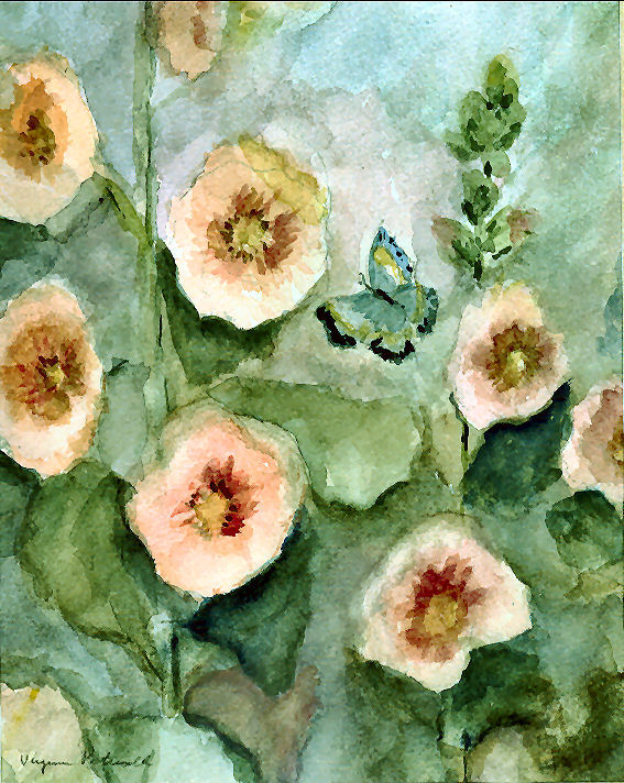 Hollyhocks and Butterfly