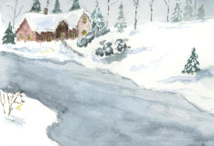 House on the Lake in Winter